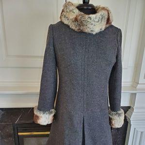 Jackets & Blazers - Chinchilla Fur Trim Wool Vintage Coat